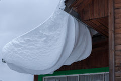 Sneeuwafwijking op dak Royalty-vrije Stock Afbeeldingen