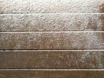 Sneeuwafwijking op Houten Raad met Lege Ruimte of Zaal voor Exemplaar Stock Afbeelding