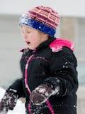 Sneeuwbal in het gezicht Stock Foto
