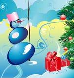 Sneeuwbal met Kerstmisachtergrond royalty-vrije illustratie
