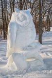 Sneeuwbeeldhouwwerk in ste-Roze Laval Stock Afbeelding