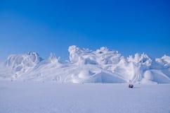 Sneeuwbeeldhouwwerken bij het het Ijs en de Sneeuwfestival van Harbin in Harbin, China Stock Foto's