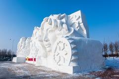 Sneeuwbeeldhouwwerken bij het 27ste het Ijs en de Sneeuwfestival van Harbin in Harbin China Stock Fotografie