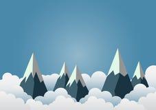 Sneeuwberg met mooie wolken Document art. vactorillustrati stock illustratie