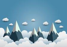 Sneeuwberg met mooie wolken Document art. vactorillustrati vector illustratie