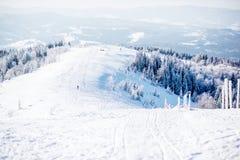 Sneeuwbergen met skihellingen Stock Foto
