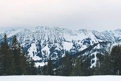 Sneeuwbergen op achtergrond van skiheuvel stock fotografie