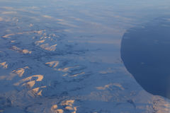 Sneeuwbergen van Canada van 30.000 voet - luchtmening - geschotene November-vlucht van LOS aan S Koreak November 2013 Stock Afbeeldingen