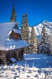 Sneeuwberghut in de bergen Stock Foto