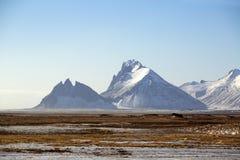 Sneeuwberglandschap in IJsland Royalty-vrije Stock Foto's