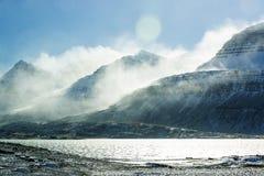 Sneeuwberglandschap, Oost-IJsland Royalty-vrije Stock Foto