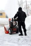 Sneeuwblazer in stad Royalty-vrije Stock Foto