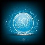 Sneeuwbol met kalligrafische vrolijke Kerstmis op blauw Royalty-vrije Stock Afbeelding
