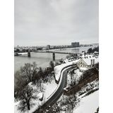 Sneeuwdag bij Petrovaradin-vesting royalty-vrije stock afbeelding