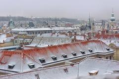 Sneeuwdaken van Prag Royalty-vrije Stock Afbeeldingen