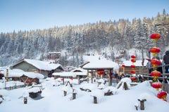 Sneeuwdorp royalty-vrije stock afbeeldingen
