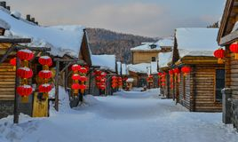Sneeuwdorp in Harbin, China royalty-vrije stock foto
