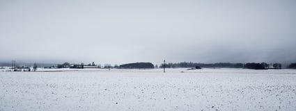 Sneeuwgebieden onder donkere hemel Stock Afbeelding