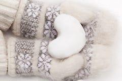 Sneeuwhart in handen Royalty-vrije Stock Afbeeldingen