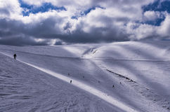 Sneeuwhelling in 3-5 Pigadia skicentrum, Naoussa, Griekenland Royalty-vrije Stock Foto