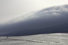 Sneeuwheuvels bij bergen Royalty-vrije Stock Afbeeldingen