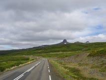 Sneeuwkaap, groene heuvels en grasweide, blauwe hemel witte wolken, IJsland royalty-vrije stock fotografie