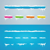 Sneeuwkappen op menubar en knopen Nieuwe die jaardecoratie voor w wordt geplaatst Stock Foto