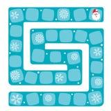 Sneeuwlabyrint Vectorillustratie van een raadsspel Stock Afbeelding