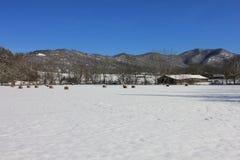 Sneeuwlandschap met bergmening Royalty-vrije Stock Afbeelding