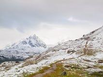 Sneeuwlandschap met grintachtige weg Nevelige scherpe pieken van hooggebergte op achtergrond Royalty-vrije Stock Fotografie