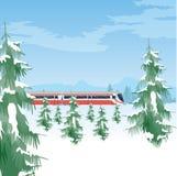 Sneeuwlandschap met trein De winterbos en hemel Mooie natuurlijke die achtergrond met bomen met sneeuw worden behandeld vector illustratie