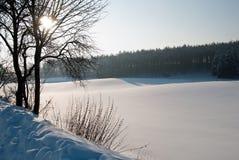 Sneeuwlandweg Royalty-vrije Stock Foto