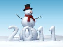 Sneeuwman 2011 Stock Foto's
