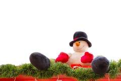 Sneeuwman bij de Kerstmismarkt Royalty-vrije Stock Afbeeldingen