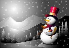 Sneeuwman bij de Winternacht Stock Foto