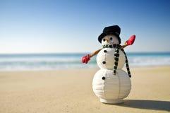 Sneeuwman bij het strand Royalty-vrije Stock Afbeeldingen