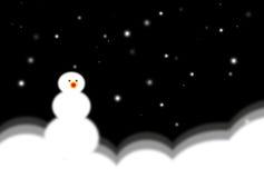 Sneeuwman bij nacht vector illustratie