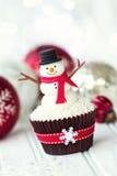 Sneeuwman cupcake royalty-vrije stock afbeelding