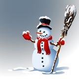 Sneeuwman De achtergrond van de winter Vector graphhics Stock Afbeelding