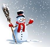 Sneeuwman De achtergrond van de winter Vector graphhics Stock Fotografie