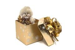 Sneeuwman in de doos Royalty-vrije Stock Afbeeldingen