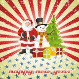 Sneeuwman, de Kerstman en Kerstboom Stock Afbeelding