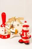 Sneeuwman, de ster van de Kerstman, klok en houten doos, concept Vrolijke Kerstmis en Gelukkig Nieuwjaar Royalty-vrije Stock Fotografie