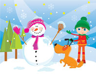 Sneeuwman in de winter Royalty-vrije Stock Afbeelding