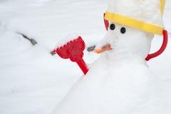 Sneeuwman in de winter royalty-vrije stock foto's