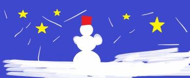 Sneeuwman - de winter, Kerstmisatmosfeer Stock Fotografie