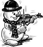 Sneeuwman die de viool spelen Stock Afbeeldingen