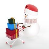 Sneeuwman die door een boodschappenwagentje wordt gedreven Royalty-vrije Stock Afbeeldingen