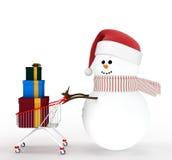 Sneeuwman die door een boodschappenwagentje wordt gedreven Stock Fotografie
