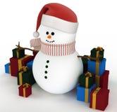 Sneeuwman die door giftdozen wordt omringd Stock Afbeelding